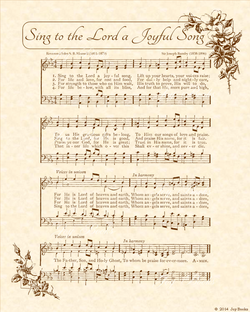 Sing to the Lord A Joyful Song - Christian Heritage Hymn, Sheet Music, Vintage Style, Natural Parchment, Sepia Brown Ink, 8x10 art print ready to frame, Vintage Verses