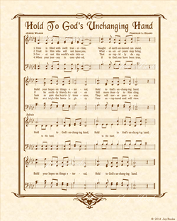 Hold To God's Unchanging Hand - Christian Heritage Hymn, Sheet Music, Vintage Style, Natural Parchment, Sepia Brown Ink, 8x10 art print ready to frame, Vintage Verses
