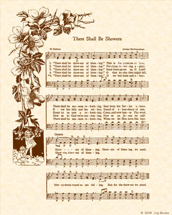 There Shall Be Showers Of Blessing - Christian Heritage Hymn, Sheet Music, Vintage Style, Natural Parchment, Sepia Brown Ink, 8x10 art print ready to frame, Vintage Verses