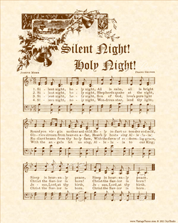 Silent Night Holy Night - Christian Heritage Hymn, Sheet Music, Vintage Style, Natural Parchment, Sepia Brown Ink, 8x10 art print ready to frame, Vintage Verses