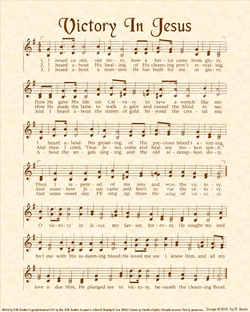 Victory In Jesus - Christian Heritage Hymn, Sheet Music, Vintage Style, Natural Parchment, Sepia Brown Ink, 8x10 art print ready to frame, Vintage Verses