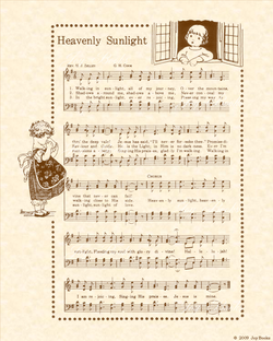 Heavenly Sunlight - Christian Heritage Hymn, Sheet Music, Vintage Style, Natural Parchment, Sepia Brown Ink, 8x10 art print ready to frame, Vintage Verses