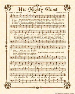 His Mighty Hand - Christian Heritage Hymn, Sheet Music, Vintage Style, Natural Parchment, Sepia Brown Ink, 8x10 art print ready to frame, Vintage Verses