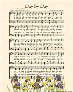 Day By Day - Christian Heritage Hymn, Sheet Music, Vintage Style, Natural Parchment, Evergreen Ink Yellow and Purple Irises, 8x10 art print ready to frame, Vintage Verses