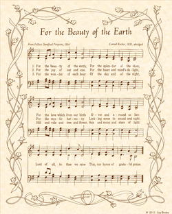 For the Beauty of the Earth - Christian Heritage Hymn, Sheet Music, Vintage Style, Natural Parchment, Sepia Brown Ink, 8x10 art print ready to frame, Vintage Verses