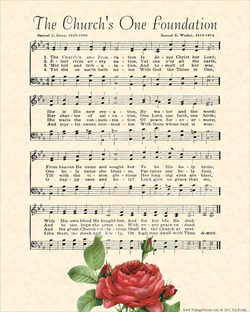 The Churchs One Foundation - Christian Heritage Hymn, Sheet Music, Vintage Style, Natural Parchment, Dark Charcoal Ink, Red Rose, 8x10 art print ready to frame, Vintage Verses