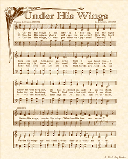 Under His Wings - Christian Heritage Hymn, Sheet Music, Vintage Style, Natural Parchment, Sepia Brown Ink, 8x10 art print ready to frame, Vintage Verses