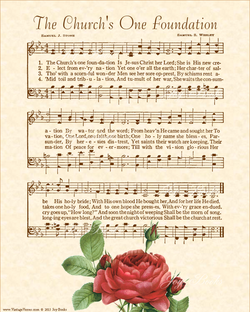 The Churchs One Foundation - Christian Heritage Hymn, Sheet Music, Vintage Style, Natural Parchment, Sepia Brown Ink, Red Rose, 8x10 art print ready to frame, Vintage Verses