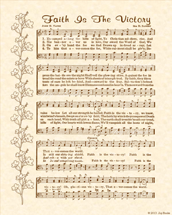 Faith Is The Victory - Christian Heritage Hymn, Sheet Music, Vintage Style, Natural Parchment, Sepia Brown Ink, 8x10 art print ready to frame, Vintage Verses