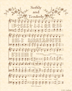 Softly And Tenderly - Christian Heritage Hymn, Sheet Music, Vintage Style, Natural Parchment, Sepia Brown Ink, 8x10 art print ready to frame, Vintage Verses