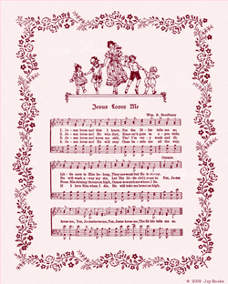 Jesus Loves Me - Christian Heritage Hymn, Sheet Music, Vintage Style, Pastel Pink Parchment, Burgundy Ink, 8x10 art print ready to frame, Vintage Verses