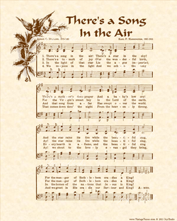 There's A Song In The Air - Christian Heritage Hymn, Sheet Music, Vintage Style, Natural Parchment, Sepia Brown Ink, 8x10 art print ready to frame, Vintage Verses