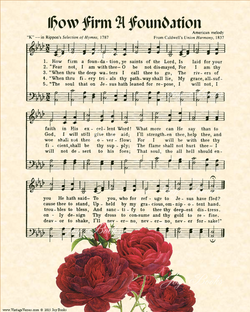 How Firm A Foundation - Christian Heritage Hymn, Sheet Music, Vintage Style, Natural Parchment, Christmas Green Ink, Red Bishops Roses, 8x10 art print ready to frame, Vintage Verses
