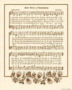 How Firm A Foundation - Christian Heritage Hymn, Sheet Music, Vintage Style, Natural Parchment, Sepia Brown Ink, 8x10 art print ready to frame, Vintage Verses