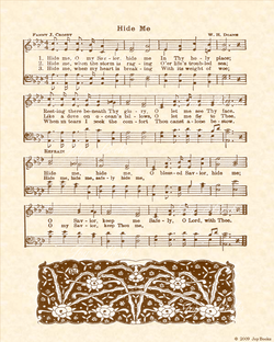 Hide Me - Christian Heritage Hymn, Sheet Music, Vintage Style, Natural Parchment, Sepia Brown Ink, 8x10 art print ready to frame, Vintage Verses