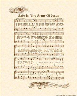 Safe In The Arms Of Jesus - Christian Heritage Hymn, Sheet Music, Vintage Style, Pastel Parchment, Burgundy Ink, 8x10 art print ready to frame, Vintage Verses