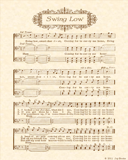 Swing Low Sweet Chariot - Christian Heritage Hymn, Sheet Music, Vintage Style, Natural Parchment, Sepia Brown Ink, 8x10 art print ready to frame, Vintage Verses