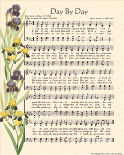 Day By Day - Christian Heritage Hymn, Sheet Music, Vintage Style, Natural Parchment, Deep Purple Ink Yellow and Purple Irises, 8x10 art print ready to frame, Vintage Verses