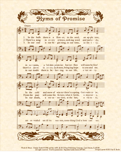Hymn Of Promise - Christian Heritage Hymn, Sheet Music, Vintage Style, Natural Parchment, Sepia Brown Ink, 8x10 art print ready to frame, Vintage Verses