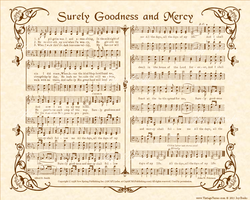 Surely Goodness And Mercy - Christian Heritage Hymn, Sheet Music, Vintage Style, Natural Parchment, Sepia Brown Ink, 8x10 art print ready to frame, Vintage Verses
