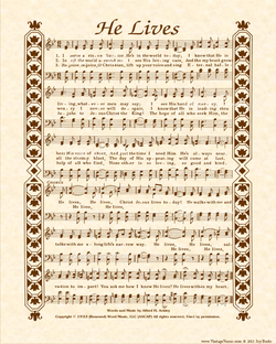 He Lives a.k.a. I Serve A Risen Savior - Christian Heritage Hymn, Sheet Music, Vintage Style, Natural Parchment, Sepia Brown Ink, 8x10 art print ready to frame, Vintage Verses