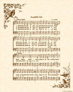 Beautiful Isle of Somewhere - Christian Heritage Hymn, Sheet Music, Vintage Style, Natural Parchment, Sepia Brown Ink, 8x10 art print ready to frame, Vintage Verses