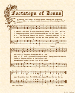 Footsteps of Jesus - Christian Heritage Hymn, Sheet Music, Vintage Style, Natural Parchment, Sepia Brown Ink, 8x10 art print ready to frame, Vintage Verses