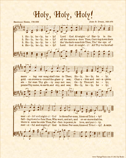 Holy, Holy, Holy! - Christian Heritage Hymn, Sheet Music, Vintage Style, Natural Parchment, Sepia Brown Ink, 8x10 art print ready to frame, Vintage Verses