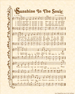 Sunshine In The Soul - Christian Heritage Hymn, Sheet Music, Vintage Style, Natural Parchment, Sepia Brown Ink, 8x10 art print ready to frame, Vintage Verses