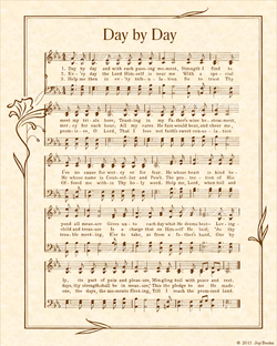 Day By Day - Christian Heritage Hymn, Sheet Music, Vintage Style, Natural Parchment, Sepia Brown Ink, 8x10 art print ready to frame, Vintage Verses