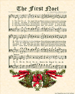 The First Noel - Christian Heritage Hymn, Sheet Music, Vintage Style, Natural Parchment, Christmas Evergreen Ink, Mistletoe Bells Red And Green, 8x10 art print ready to frame, Vintage Verses