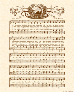 Beulah Land - Christian Heritage Hymn, Sheet Music, Vintage Style, Natural Parchment, Sepia Brown Ink, 8x10 art print ready to frame, Vintage Verses