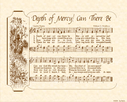 Depth Of Mercy! Can There Be - Christian Heritage Hymn, Sheet Music, Vintage Style, Natural Parchment, Sepia Brown Ink, 8x10 art print ready to frame, Vintage Verses