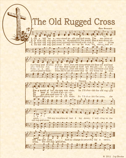 The Old Rugged Cross - Christian Heritage Hymn, Sheet Music, Vintage Style, Natural Parchment, Sepia Brown Ink, 8x10 art print ready to frame, Vintage Verses