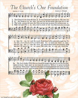The Churchs One Foundation - Christian Heritage Hymn, Sheet Music, Vintage Style, Pink Swirls Background, Dark Charcoal Ink, 8x10 art print ready to frame, Vintage Verses