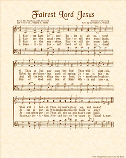 Fairest Lord Jesus - Christian Heritage Hymn, Sheet Music, Vintage Style, Natural Parchment, Sepia Brown Ink, 8x10 art print ready to frame, Vintage Verses