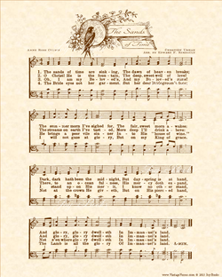 The Sands Of Time - Christian Heritage Hymn, Sheet Music, Vintage Style, Natural Parchment, Sepia Brown Ink, 8x10 art print ready to frame, Vintage Verses