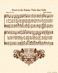 Sweet Is The Solemn Voice That Calls - Christian Heritage Hymn, Sheet Music, Vintage Style, Natural Parchment, Sepia Brown Ink, 8x10 art print ready to frame, Vintage Verses
