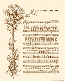 The Statutes Of The Lord - Christian Heritage Hymn, Sheet Music, Vintage Style, Natural Parchment, Sepia Brown Ink, 8x10 art print ready to frame, Vintage Verses