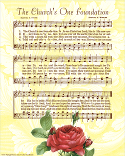 The Churchs One Foundation - Christian Heritage Hymn, Sheet Music, Vintage Style, Yellow Swirls Background, Sepia Brown Ink, 8x10 art print ready to frame, Vintage Verses
