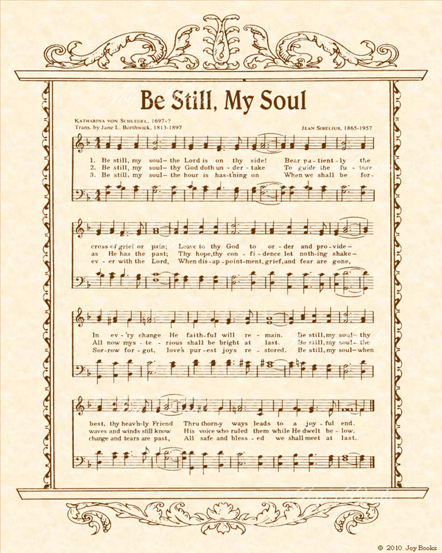 Be Still My Soul - Christian Heritage Hymn, Sheet Music, Vintage Style, Natural Parchment, Sepia Brown Ink, 8x10 art print ready to frame, Vintage Verses