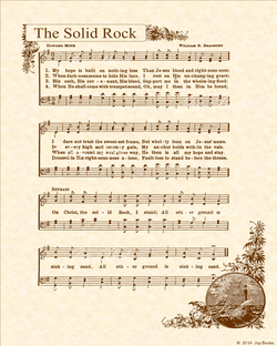 The Solid Rock - Christian Heritage Hymn, Sheet Music, Vintage Style, Natural Parchment, Sepia Brown Ink, 8x10 art print ready to frame, Vintage Verses
