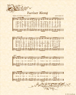 Farther Along - Christian Heritage Hymn, Sheet Music, Vintage Style, Natural Parchment, Sepia Brown Ink, 8x10 art print ready to frame, Vintage Verses