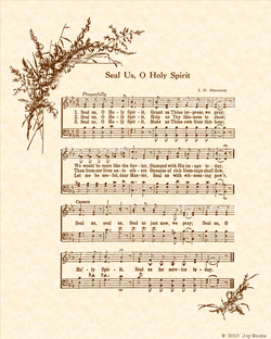 Seal Us O Holy Spirit - Christian Heritage Hymn, Sheet Music, Vintage Style, Natural Parchment, Sepia Brown Ink, 8x10 art print ready to frame, Vintage Verses
