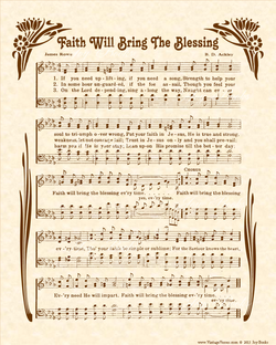 Faith Will Bring The Blessing - Christian Heritage Hymn, Sheet Music, Vintage Style, Natural Parchment, Sepia Brown Ink, 8x10 art print ready to frame, Vintage Verses