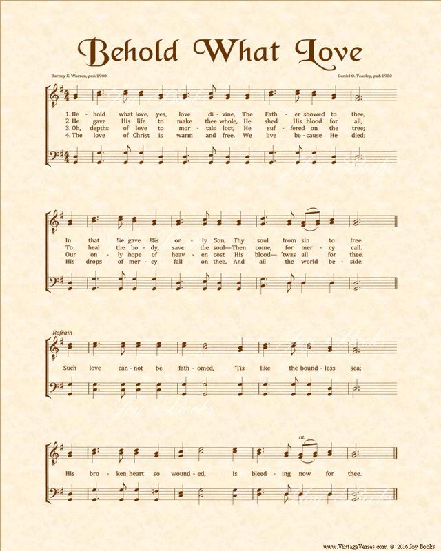 Behold What Love - Christian Heritage Hymn, Sheet Music, Vintage Style, Natural Parchment, Sepia Brown Ink, 8x10 art print ready to frame, Vintage Verses