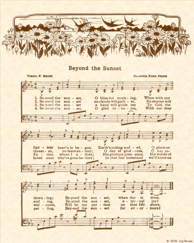 Beyond The Sunset - Christian Heritage Hymn, Sheet Music, Vintage Style, Natural Parchment, Sepia Brown Ink, 8x10 art print ready to frame, Vintage Verses
