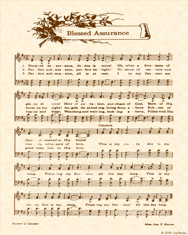 Blessed Assurance - Christian Heritage Hymn, Sheet Music, Vintage Style, Natural Parchment, Sepia Brown Ink, 8x10 art print ready to frame, Vintage Verses