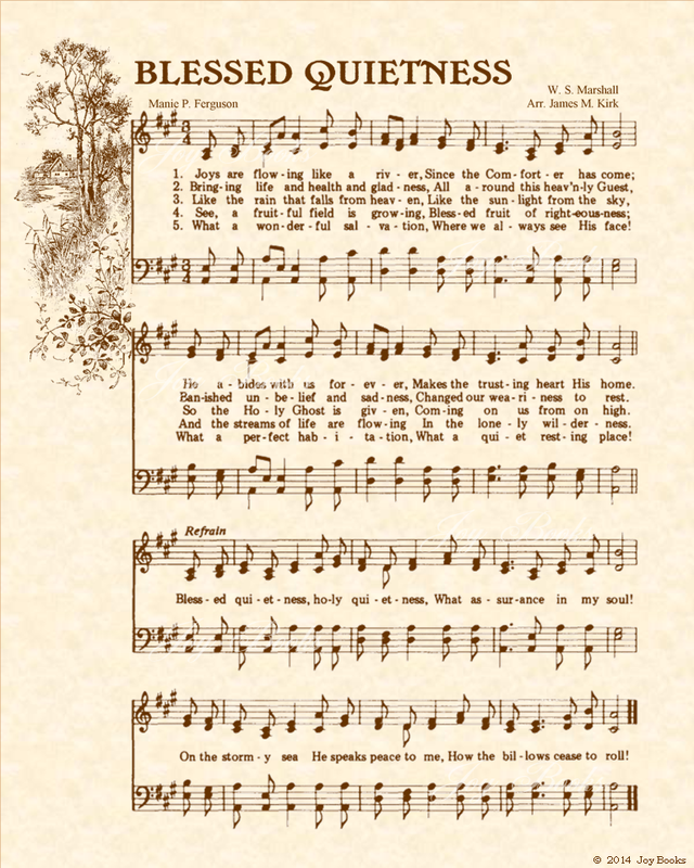 Blessed Quietness - Christian Heritage Hymn, Sheet Music, Vintage Style, Natural Parchment, Sepia Brown Ink, 8x10 art print ready to frame, Vintage Verses
