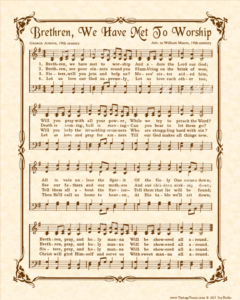 Brethren We Have Met To Worship - Christian Heritage Hymn, Sheet Music, Vintage Style, Natural Parchment, Sepia Brown Ink, 8x10 art print ready to frame, Vintage Verses